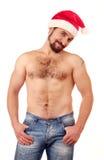 英俊的帽子人圣诞老人 图库摄影