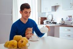 英俊的年轻人画象倒与猫的茶在厨房 免版税库存图片