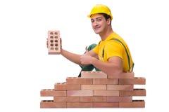 英俊的建筑工人大厦砖墙 图库摄影