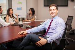 英俊的律师在会议室 免版税库存图片
