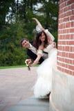 英俊的新娘和滑稽的新郎 库存图片