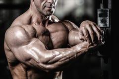 英俊的显示在健身房的适合白种人肌肉人力量 库存照片