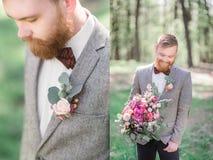 英俊的有胡子的新郎的被加倍的图片 免版税库存照片