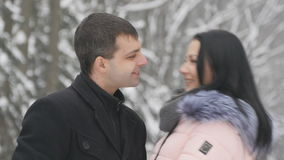 年轻英俊的深色的聊天在公园的女孩和她的男朋友 恋人在公园站立,并且谈话,笑,亲吻 影视素材