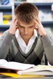 英俊的男学生在图书馆里 免版税库存照片