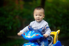 英俊的男婴骑马 库存图片