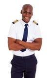 英俊的非洲飞行员 免版税库存图片