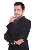 英俊的年轻成功的经理被隔绝的画象白色的。 库存图片