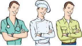英俊的医生厨师和农夫有胳膊的横渡了微笑 库存图片