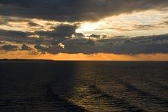 英吉利海峡日落的` s海 免版税库存图片