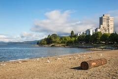 英吉利湾海滩,街市的温哥华 免版税库存图片