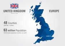 英国世界地图 与映象点金刚石textu的英国地图 库存照片