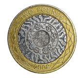 英国二1英镑硬币 库存照片