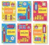 英国传染媒介小册子卡片变薄线集合 国家旅行模板flyear,杂志,海报,书套,横幅 库存例证