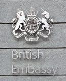 英国使馆标志和徽章 免版税图库摄影