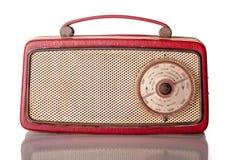 60红色便携式的晶体管收音机 免版税图库摄影