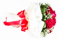 英国兰开斯特家族族徽美丽的花束与丝带的 图库摄影