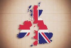 英国反对亚麻制背景的地图等高 免版税库存图片