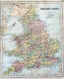 英国和威尔士的古色古香的地图 免版税库存图片