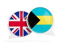英国和巴哈马的旗子在闲谈泡影里面 皇族释放例证
