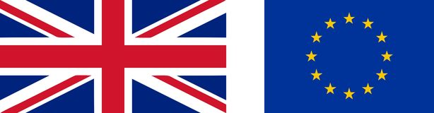 英国和欧盟的旗子 免版税库存照片