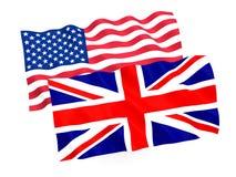 英国和美国国旗 免版税库存图片