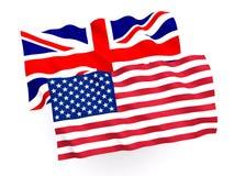 英国和美国国旗 库存照片