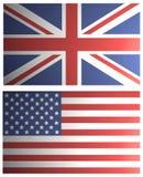英国和美国被遮蔽的旗子 库存照片