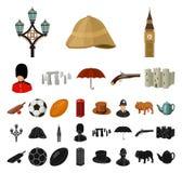 英国国家动画片,在集合收藏的黑象的设计 旅行和吸引力传染媒介标志股票网 库存例证
