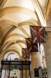 英国国旗旗子在教会里 图库摄影