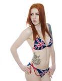 英国国旗比基尼泳装的性感的少妇 免版税图库摄影
