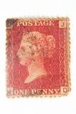 英国便士红色邮票 库存图片