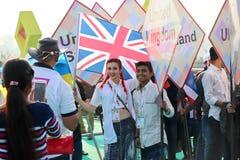 英国在第29个国际风筝节日的风筝飞行物2018年-印度 库存图片