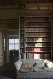 英国城堡典型的内部  里氏古堡内部里面室图书馆 库存照片