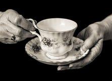 英国夫人` s递拿着茶杯和茶碟 单色 库存照片
