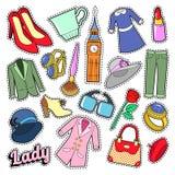 英国夫人Woman与衣裳的Fashion Badges、补丁、贴纸和首饰 免版税库存照片