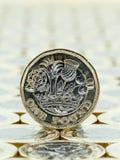 英国宏观细节一1英镑硬币,尾巴支持 免版税库存照片