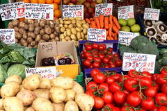 英国市场停转蔬菜 库存照片
