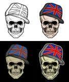 戴英国帽子的头骨 向量例证