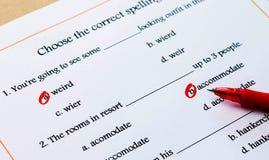 英国拼写词汇量测试 免版税图库摄影