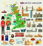 英国旅行地图 也corel凹道例证向量 免版税库存照片