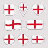 英国旗子传染媒介集合 英国国旗贴纸的汇集 被隔绝的象 墙纸 网,运动栏,爱国, sc 向量例证