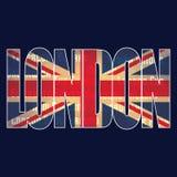 英国旗子和`伦敦`印刷术 图表传染媒介设计 免版税图库摄影