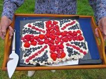 英国旗子庆祝蛋糕 库存照片