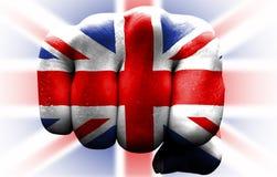 英国旗子拳头 库存照片