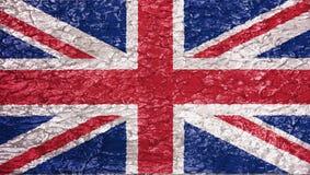 英国旗子的纹理在膏药的墙壁上的 免版税库存照片