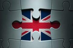 英国旗子缺掉曲线锯的片断 库存图片