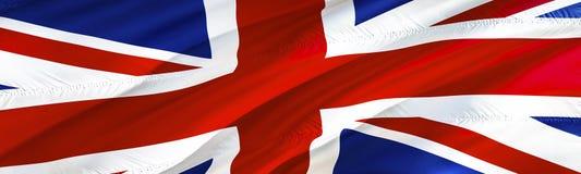 英国标志 标志英国 3D挥动的旗子设计,3D翻译 英国背景墙纸的国家标志 3D丝带, 皇族释放例证