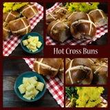 英国样式愉快的复活节十字面包拼贴画  免版税库存图片