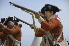 英国步兵reenactor 免版税图库摄影